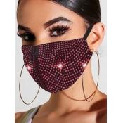 lovely Rhinestone Decorative Red Face Mask
