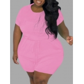lovely Leisure Lace-up Pink Plus Size One-piece Ro