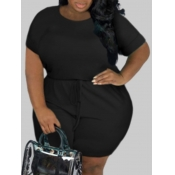 lovely Leisure Lace-up Black Plus Size One-piece R