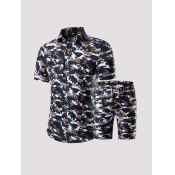 Lovely Leisure Turndown Collar Camo Print Two-piec