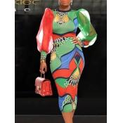 Lovely Street O Neck Print Green Knee Length Dress
