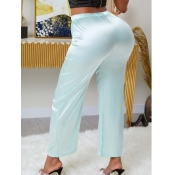 lovely Casual Lace-up Light Green Pants