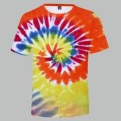 lovely Trendy O Neck Tie-dye JacinthT-shirt