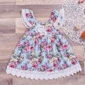 lovely Sweet Floral Print Baby Blue Girl Knee Leng
