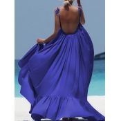 lovely  Bohemian Backless Fold Design Deep Blue An