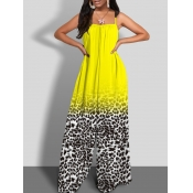 Lovely Bohemian Spaghetti Strap Print Yellow Plus