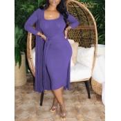 Lovely Casual U Neck Basic Skinny Purple Mid Calf
