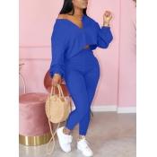 Lovely Casual Zipper Design Blue Two Piece Pants Set