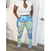 lovely Leisure Print Zipper Design Blue Two Piece Pants Set
