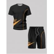 lovely Sportswear O Neck Print Black Two-piece Shorts Set