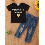lovely Casual O Neck Letter Print Black Girl Two-piece Pants Set