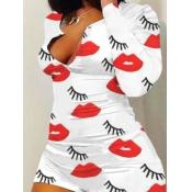 lovely Leisure Lip Print White Loungewear