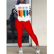 lovely Casual O Neck Rainbow Print Patchwork Red Two Piece Pants Set