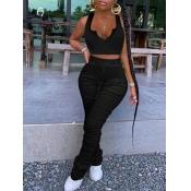 lovely Sexy Fold Design Skinny Black Two Piece Pants Set