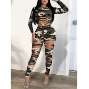 lovely Leisure O Neck Camo Print Tear Army Green Two Piece Pants Set