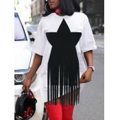 Lovely Casual O Neck Pentagram Tassel Design White Mini Dress