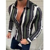 Men lovely Trendy Turndown Collar Striped Army Gre