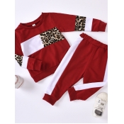 Lovely Sportswear O Neck Print Patchwork Red?Girl Two-piece Pants Set