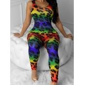 lovely Stylish U Neck Leopard Print One-piece Jumpsuit