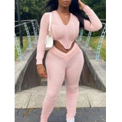 lovely Sportswear Asymmetrical Fold Design Pink Two Piece Pants Set