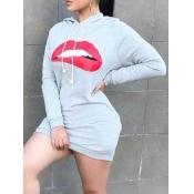 lovely Sportswear Hooded Collar Lip Print Light Gr