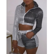 lovely Sportswear Turndown Collar Patchwork Zipper Design Silver Two Piece Shorts Set