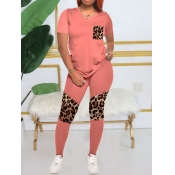 lovely Casual V Neck Print Patchwork Pink Two Piece Pants Set