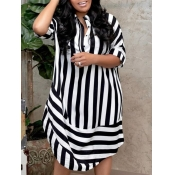 lovely Trendy Shirt Collar Striped Black Knee Length Dress