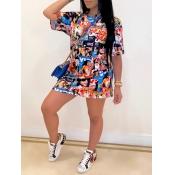 Lovely Casual O Neck Print Multicolor Mini Dress