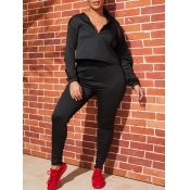 lovely Casual Zipper Design Black Two Piece Pants