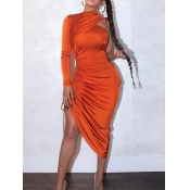 lovely Sexy One Shoulder Fold Design Orange Mid Calf Dress