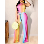 lovely Trendy Sleeveless Gradient Pink One-piece Jumpsuit(Back Batch Print)