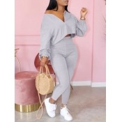 Lovely Casual Zipper Design Grey Two Piece Pants Set