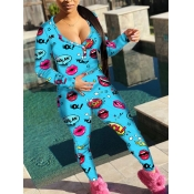 lovely Sportswear V Neck Lip Print Blue One-piece Jumpsuit