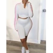 lovely Sportswear Zipper Design Patchwork White Tw
