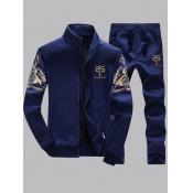Lovely Men Stylish Print Zipper Design Deep Blue Two-piece Pants Set
