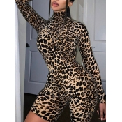 Lovely Trendy Leopard Print Skinny One-piece Romper