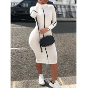 lovely Sportswear Half A Turtleneck Patchwork White Mid Calf Dress