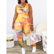 lovely Sexy Tie-dye Broken Holes Yellow One-piece Jumpsuit