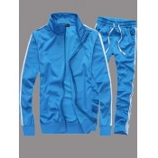 lovely Sportswear Patchwork Zipper Design Skyblue