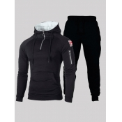lovely Sportswear Hooded Collar Pocket Patched Pit