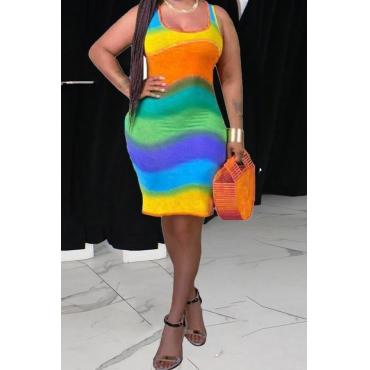 lovely Trendy Tie-dye Skinny Orange Mini Plus Size Dress