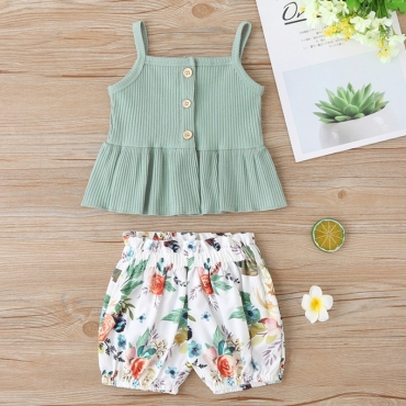 lovely Stylish Plants Print Green Girl Two-piece Shorts Set