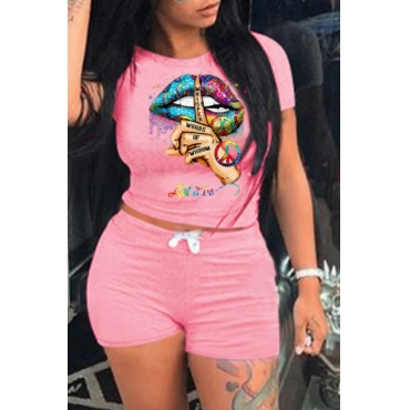 lovely Leisure O Neck Lip Print Pink Two Piece Shorts Set