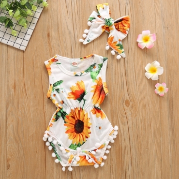 lovely Stylish Print White Girl One-piece Romper