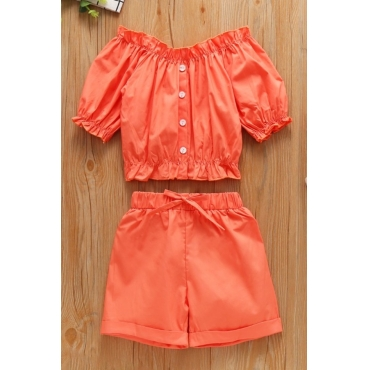lovely Stylish Buttons Design Orange Girl Two-piece Shorts Set