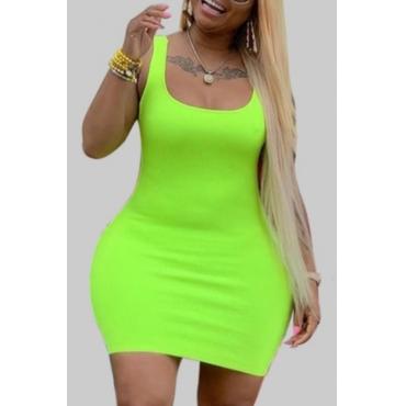 lovely Leisure U Neck Basic Green Mini Plus Size Dress