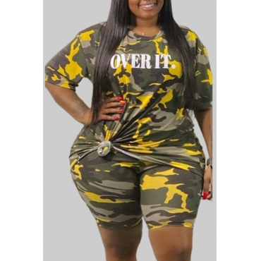 lovely Leisure O Neck Camo Print Plus Size Two-piece Shorts Set