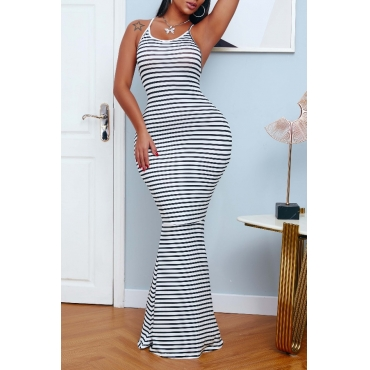 lovely Sexy Striped Print Backless Black and White Maxi Dress
