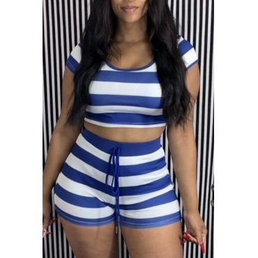 lovely Casual O Neck Striped Blue Two Piece Shorts Set
